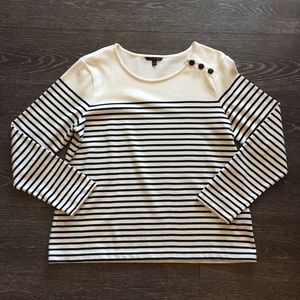Banana Republic Black & Cream Striped Sweater - XL